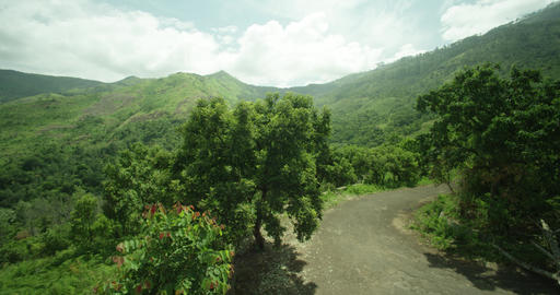 Top view sky road on top of mountain, Amazing nature, huge landscape, green forest Live Action