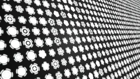 Rotating white circles interface elements animated background close up Animation