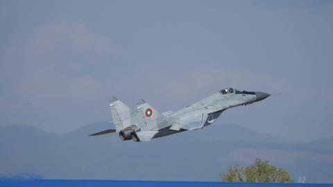 Cold War Combat Aircraft MiG 29 Climb Up after Take Off with Full After Burner Live Action