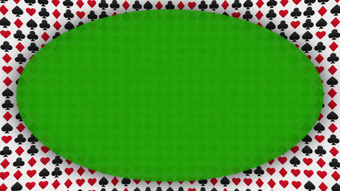 Playing card suits hearts diamonds clubs spades frame animated background Animation