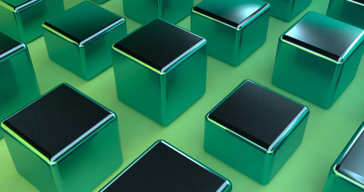 Vintage 3d pattern with green boxes metal on green background. Blue background Live Action