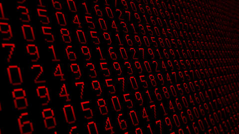 Numbers red pattern close up animated background Animation