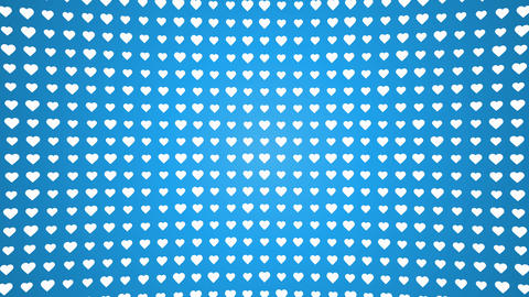 White hearts pattern animated blue background Animation
