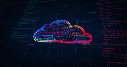 Cyber cloud symbol futuristic sketch Animation