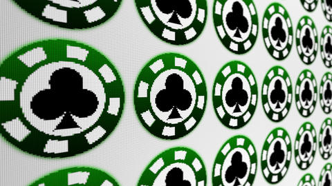 Poker chips clubs pixel screen animated background Animation