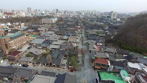 Aerial View of Jeonju Hanok Village Traditional Korean Town, Jeonju, Jeonbuk, South Korea, Asia Live Action