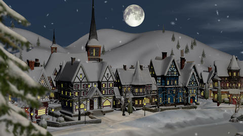 View of a small town or village on a winter night at Christmas ライブ動画