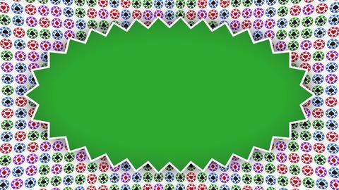 Poker chips hearts diamonds clubs spades zig-zag frame Animation