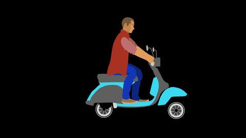 Vector Man riding a Moped GIF