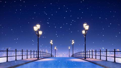 City bridge lit by street lights at snowy winter night Animation