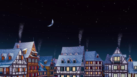 House rooftops with smoking chimneys at calm night Videos animados