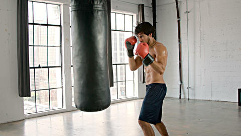 Athletic Male Boxing Slow Motion Footage