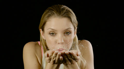 Woman Blows Glitter Slow Motion Footage
