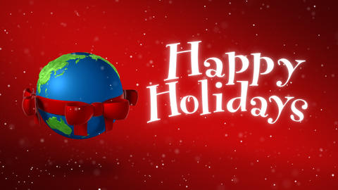 Globe With Christmas Bow Animation