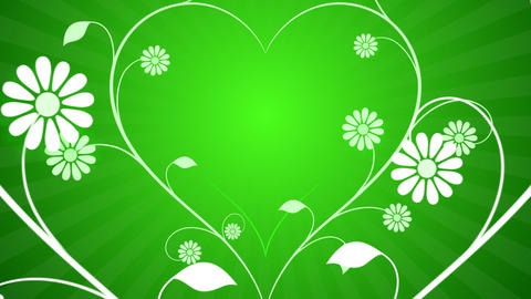 Flower Heart Grow Green Background Animation