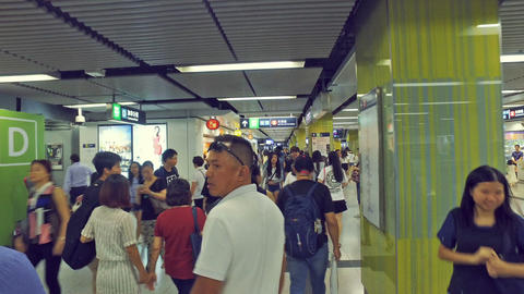 Short Film - walking in Hong Kong MTR, Tsim Sha Tsui subway station Footage