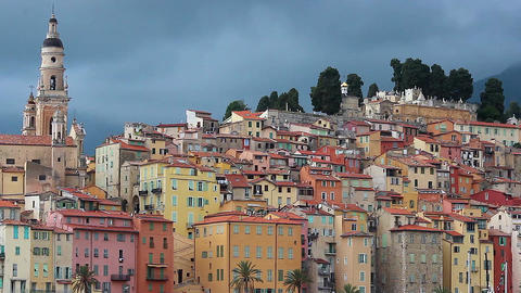 View of Menton Old Town Time-Lapse Footage