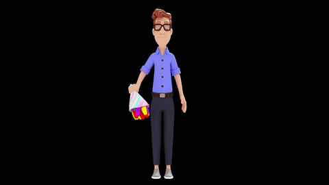 Man Delivering Flowers Animation