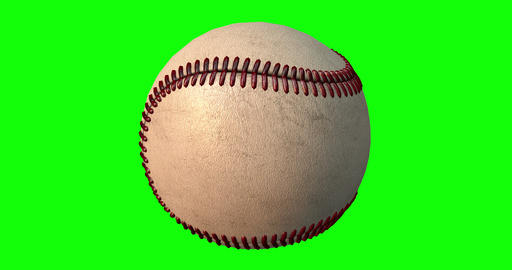 Baseball Ball Rotates Seamlessly on a Green Screen Live Action