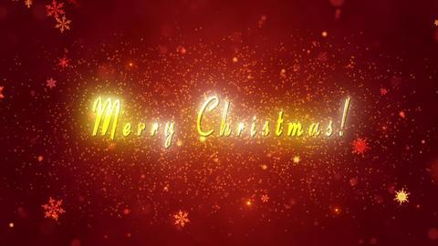 Congratulatory Christmas video card. Decorative gold title, confetti. Artistic intro (introductory Animation