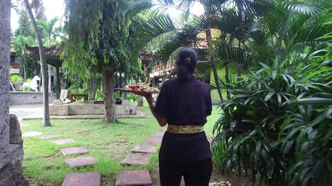 Woman with a tray is walking in the resort, luxury tropical resort personnel Live Action