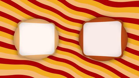 Double white frames banners on orange stripes animation Animation