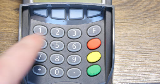 Hand Dials The Pin Code Into Credit Card Reader 4k Live Action