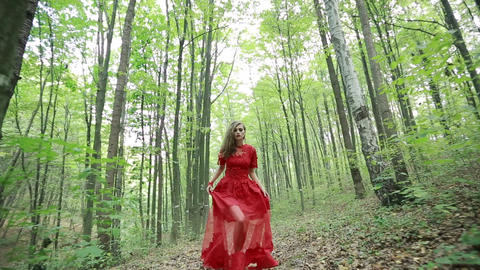 Beautiful Fairy Tale Girl Running In Woods Live Action