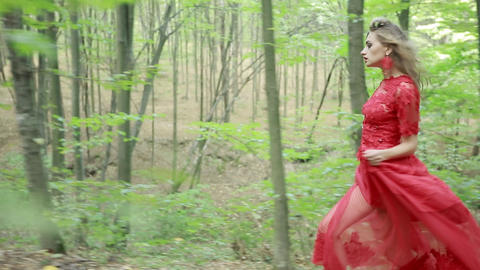 Woman In Red Dress Running Away In Forest Live Action