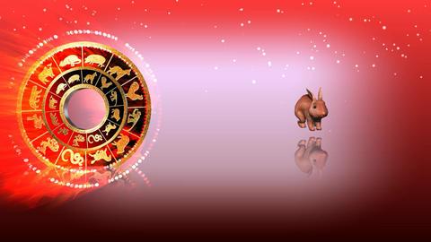 323 3d animated horoscope template with zodiac RABBIT symbol Animation