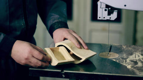 Man Uses An Electric Saw To Cut Wooden Planks Live Action