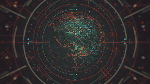 Futuristic Rotating Globe with Highlighted Elements Animation
