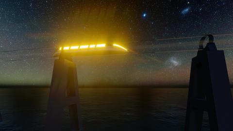 Maglev hyperloop night. Futuristic tunnel. Futuristic night city. Train icon Live Action