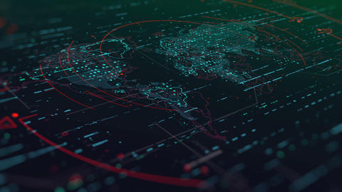 Futuristic World Map with Highlighted Elements Animation