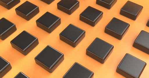 Black boxes on orange. Background 3d. Orange background. Package template Live Action