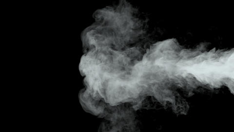 White Water Vapor Steam on a Black Background Live Action