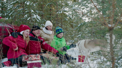 Happy family in red hat resting in snowy forest at Christmas vacation. Mom, dad Live Action