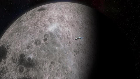 Futuristic Spaceship flying near the Moon Animation
