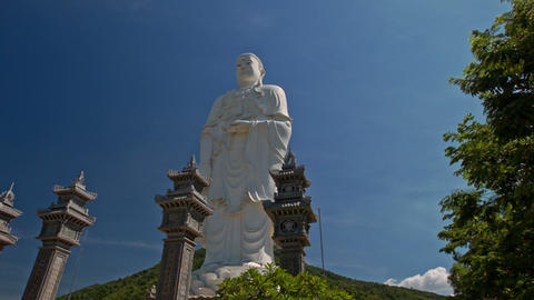 Pedestal of Large White Marble Buddha Statue in Temple Park Footage