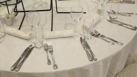 Table setting in restaurant Footage
