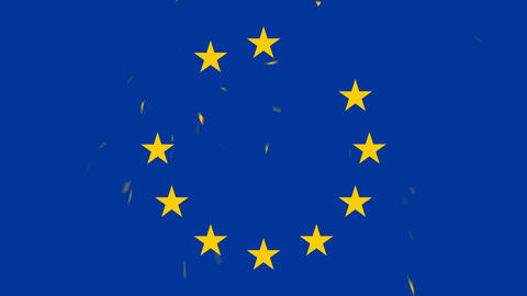 European Union flag stars appearing and shattering Animation