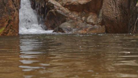 Closeup Mountain River Waterfall Falls among Bare Stones Footage