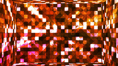 Broadcast Twinkling Hi-Tech Squares Room, Orange, Abstract, Loopable, 4K Animation
