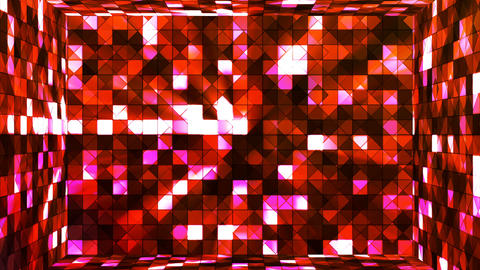 Broadcast Twinkling Hi-Tech Squares Room, Red, Abstract, Loopable, 4K Animation