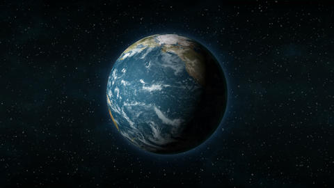 Realistic Earth from space spinning around its axis Animation