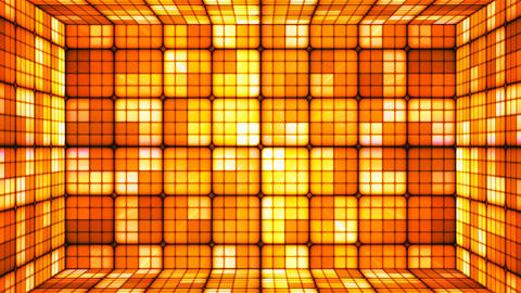 Broadcast Twinkling Hi-Tech Cubes Room, Orange, Abstract, Loopable, 4K Animation