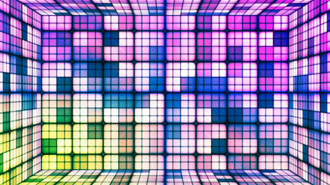 Broadcast Twinkling Hi-Tech Cubes Room, Green Purple, Abstract, Loopable, 4K Animation