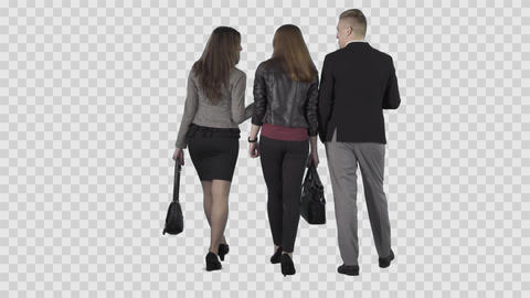 Two girls and male are walking and looking around. Back view Live Action