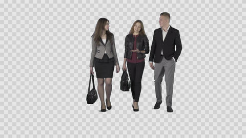 Two girls & male in business clothes are walking at the camera Live Action