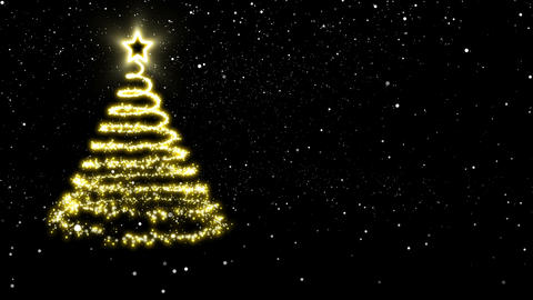 Abstract Christmas tree of golden lights appearing in the snow Animation